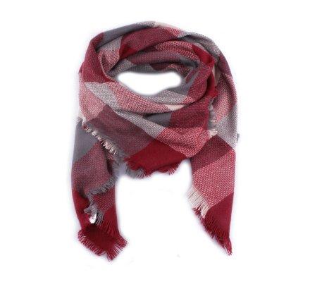 Echarpe à carreaux rouges bordeaux gris et blancs