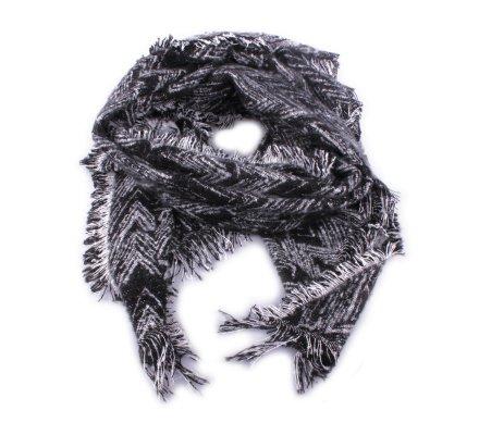 Grosse écharpe noire et blanche brillante Zebris