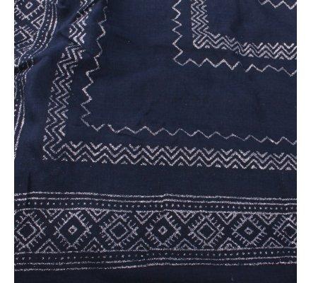 Echarpe bleue marine motifs ethniques paillettes argent