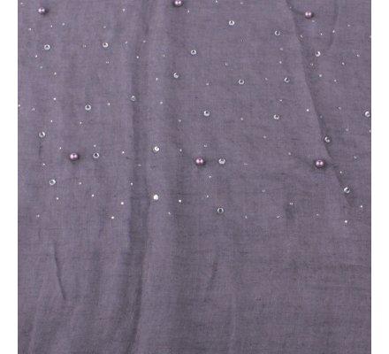 Echarpe grise à perles et strass