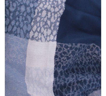 Echarpe à carreaux tachetés bleue et blanche brillante