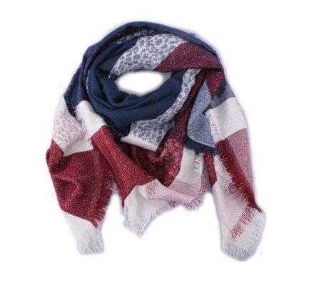 Echarpe à carreaux tachetés rouge bleue et blanche brillante