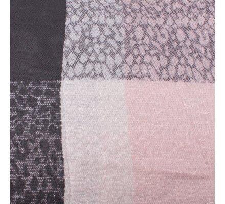 Echarpe à carreaux tachetés rose grise anthracite et blanche brillante