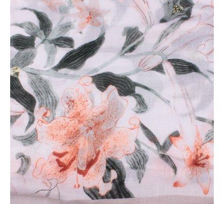 Echarpe grise verte et corail Fleurs de lys et pompons
