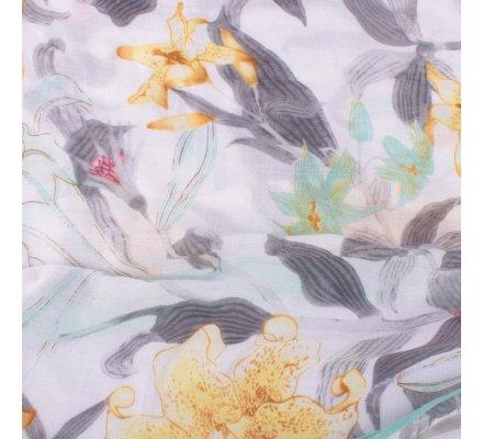 Echarpe verte jaune et grise Fleurs de lys et pompons