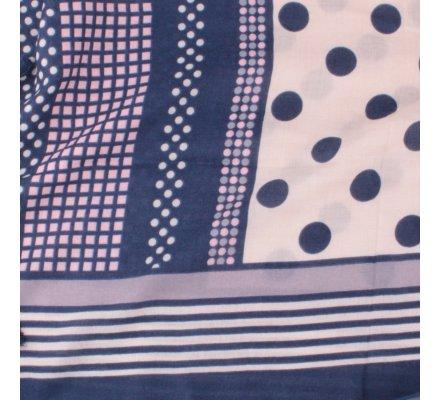 Echarpe bleue pois et rayures beiges roses et gris