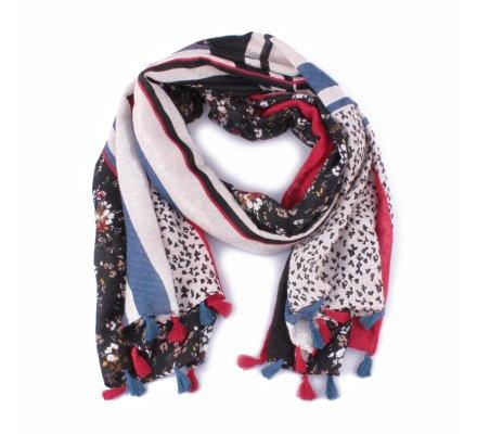 Echarpe à carreaux et fleurs liberty rouge bleue noire et pompons
