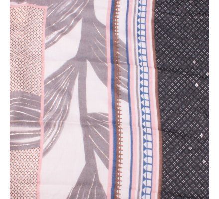 Echarpe grise feuilles dorées motifs ethniques noirs bleus roses