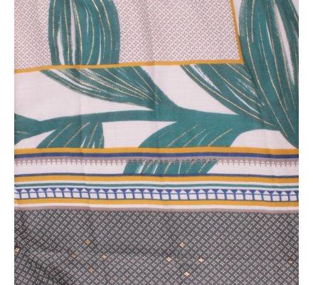 Echarpe verte feuilles dorées motifs ethniques moutarde bleu gris