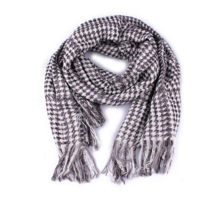 Grosse écharpe à carreaux pied de poule noire blanche et grise