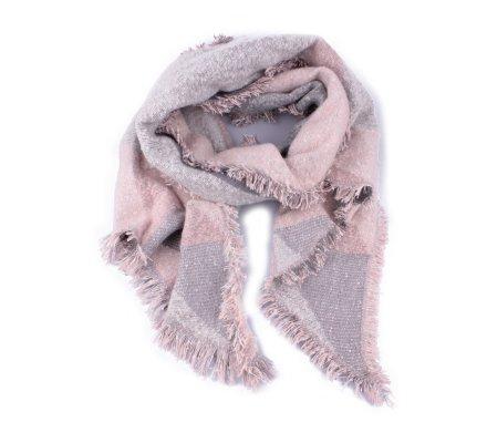 Grosse écharpe rose grise et blanche à sequins Geomis