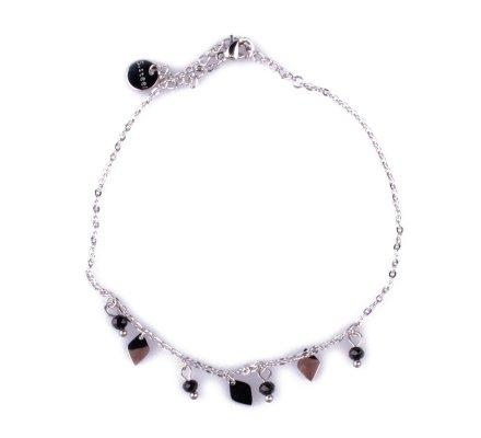 Chaîne de cheville acier argent pastilles ovales et perles noires