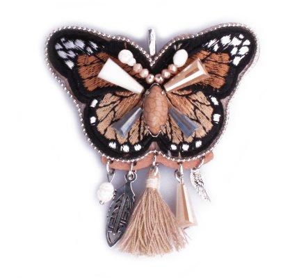 Broche Lolilota Papillon camel noir broderies et perles