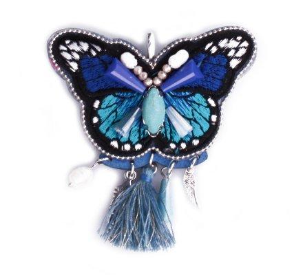 Broche Lolilota Papillon bleu broderies et perles