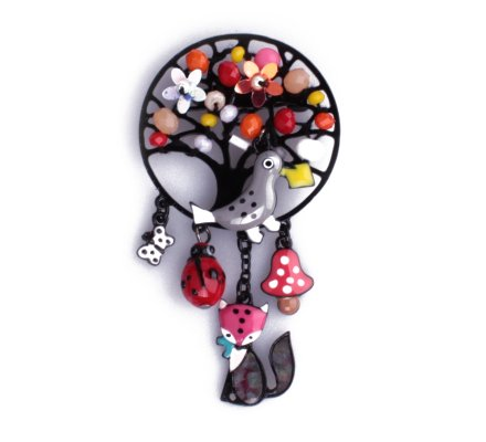 Broche Lolilota le corbeau gris et le renard rose perles multicolores