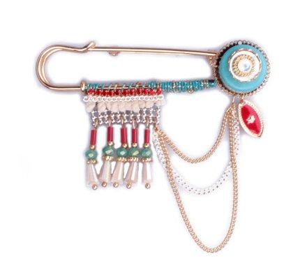 Broche Lolilota perles et chainettes turquoise dorée rouge et blanche