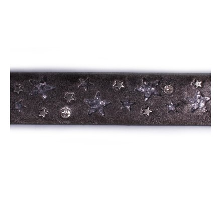 Ceinture grise anthracite étoiles pailletées et cloutées 90cm