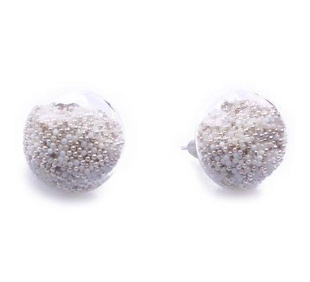Boucles d'oreilles domes de verre billes argent et blanches