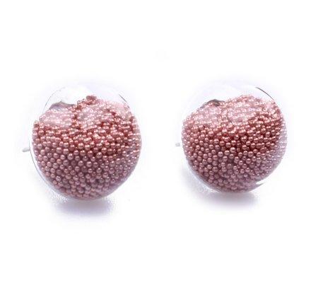 Boucles d'oreilles domes de verre billes roses metallisées