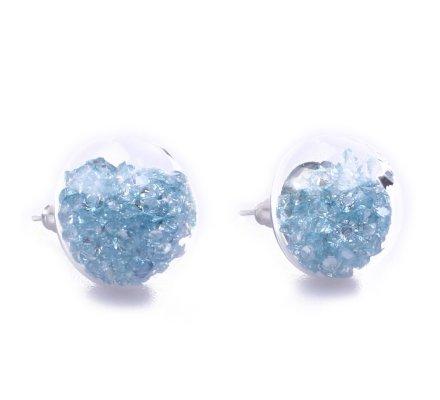 Boucles d'oreilles domes de verre perles bleues ciel