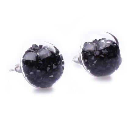Boucles d'oreilles domes de verre perles noires