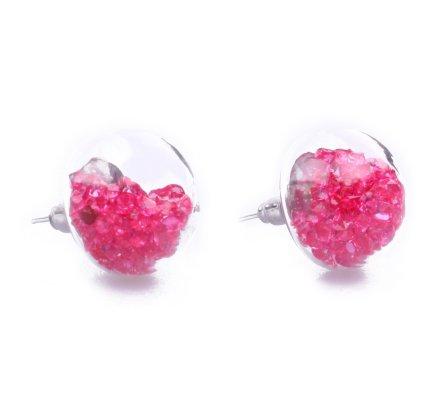 Boucles d'oreilles domes de verre perles roses