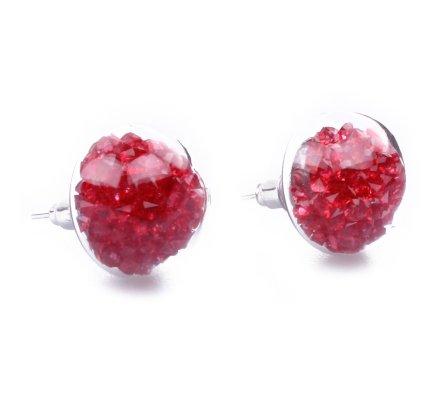 Boucles d'oreilles domes de verre perles rouges