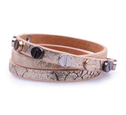 Bracelet Lolilota fantaisie 3 rangs reptile clouté doré