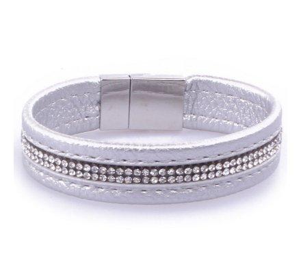 Bracelet Lolilota fantaisie Baillon similicuir argent et ligne de strass
