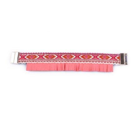 Bracelet Lolilota Bandeau brésilien à franges rose corail