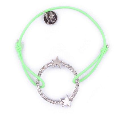 Bracelet Lolilota élastique cercle étoilé et strass argent et vert fluo