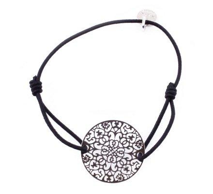 Bracelet élastique noir Rosace argent