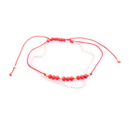 Bracelet fin réglable fines perles rouges et dorées