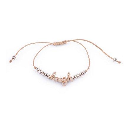 Bracelet Lolilota réglable camel Laugh perles dorées