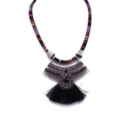 Collier Aztèque pompon noir et multicolore