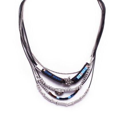Collier Etoilia strassée perles argent et bleues