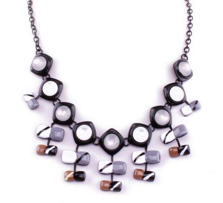 Collier Lolilota Fleurs cubiques rayées  gris blanc marron noir