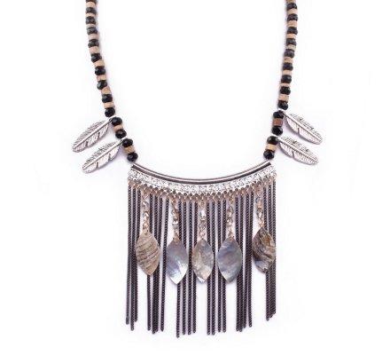 Collier Lolilota Indis Chainettes et plumes de nacre noir