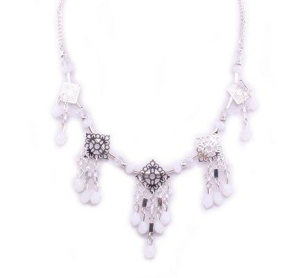 Collier Lolilota Losanges fleuris argent perles blanches