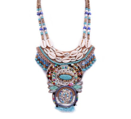 Collier Lolilota Plastron maya turquoise multicolore