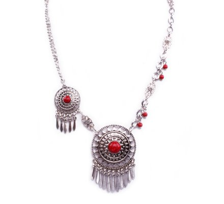Collier Lolilota Sun hippies argent et rouge