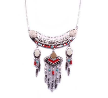 Collier Lolilota Tringlio indis rose blanc rouge turquoise argent