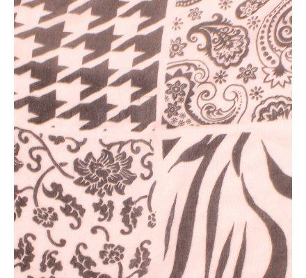 Echarpe rose motifs baroques et rayures tigrées noires