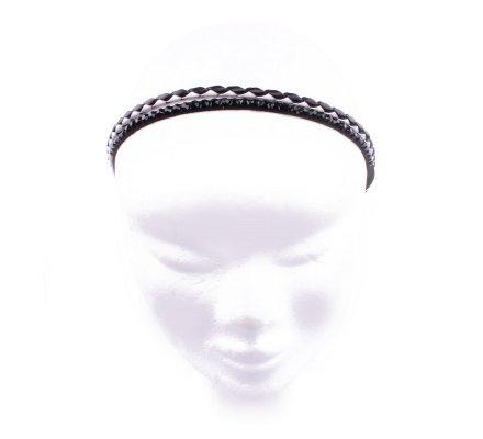Headband Ethnique noir et blanc strass noirs