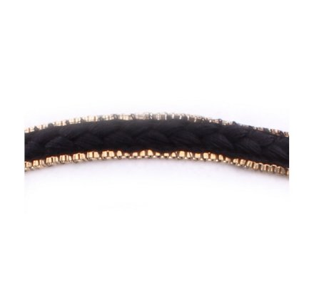 Headband Tresse de tissu noir bordée métal doré