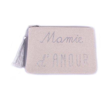 Pochette LOL beige pailletée Mamie d'amour argent et pompon