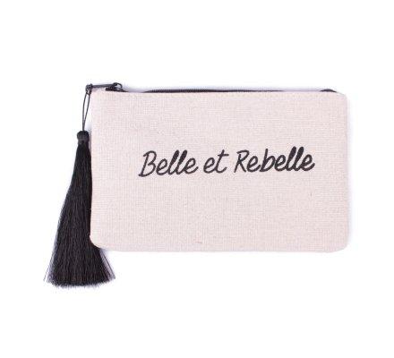 Petite pochette LOL beige pailletée Belle et Rebelle noire et pompon