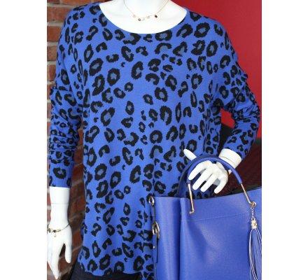 Pull bleu motifs leopard