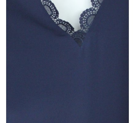 Robe bleue marine col V dos décolleté broderies éventails coupe droite