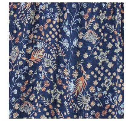 Robe bleue fleurie orange et jaune et liserés brillants col V